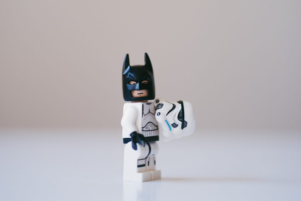 Lego Batman is dressed as a Stormtrooper