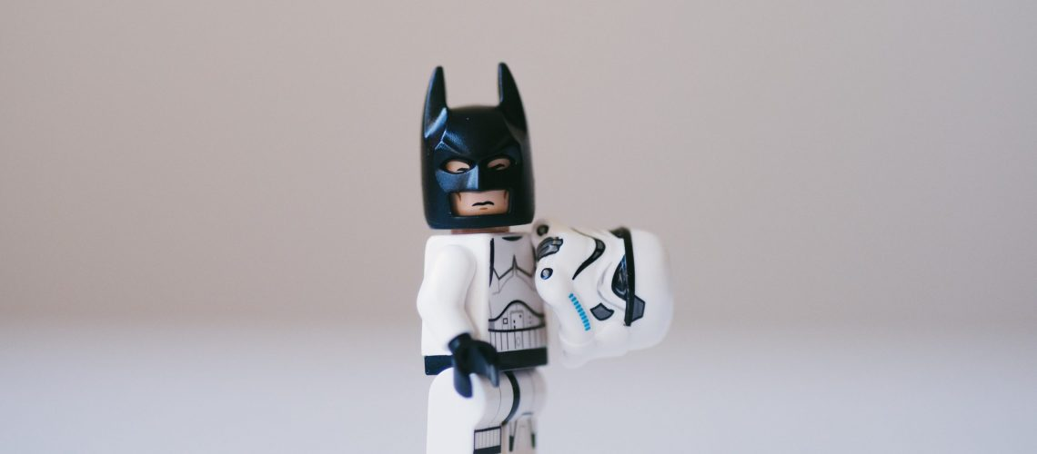 Lego Batman is dressed as a Stormtrooper