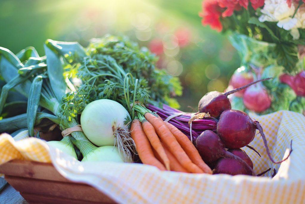 Basket of fresh fruit and vegetables